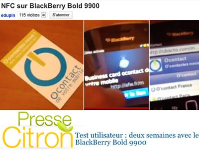 illustration de Vidéo-test NFC sur Blackberry par Presse Citron avec la carte NFC o'contact de votre mobile !